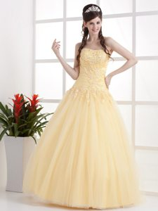 Ruched Appliques Tulle Gold Prom Dama Dresses for Military Ball