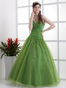 Beaded Organza Olive Green Sweetheart Prom Dresses for Princess