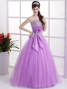 Hand Made Flower Lavender Beaded Tulle Prom Holiday Dresses
