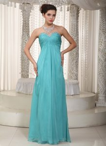Beading Chiffon Ruched Sweetheart Turquoise Modest Prom Dresses