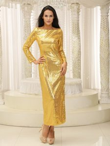 Paillette Bateau Gold Prom Bridesmaid Dresses with Long Sleeves