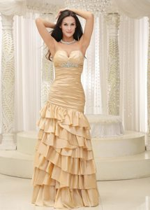 Ruffled Layers Sweetheart Yellow Floor-length Dress For Prom Queen