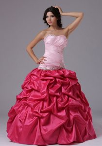 Pink Ball Gown Formal Dresses with Ruched Beading Sweetheart