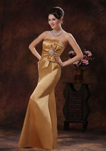 Mermaid Strapless Beaded and Bowknot Prom Gown Dress in Gold