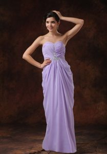 Beading Lilac Column Sweetheart Prom Dress Floor-length