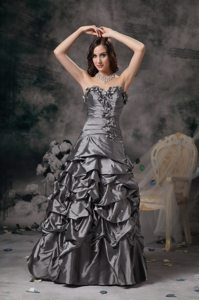 Floral Grey Column Sweetheart Formal Dresses with Pick-ups