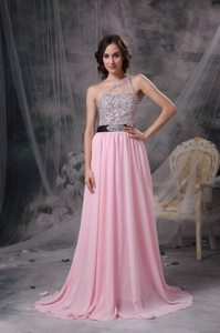 Beaded Baby Pink Empire One Shoulder Prom Dress with Brush Train