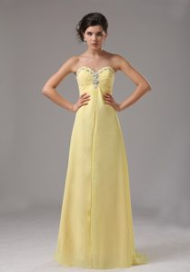 Empire Sweetheart Beading Yellow Dresses For Debutante Ball