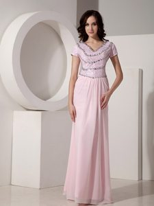 Cap Sleeves V-neck Baby Pink Formal Dresses Beading Floor-length