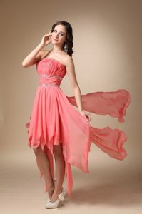 Pleated Strapless Asymmetrical Chiffon Beading Junior Prom Dress in Watermelon