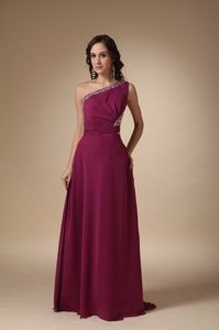 Column Beading One Shoulder Fuchsia Prom Party Dress