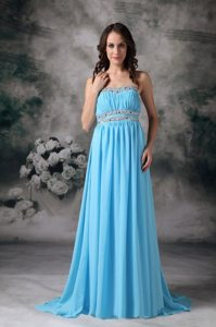 Empire Strapless Beading Prom Attire in Aqua Blue for Small Train