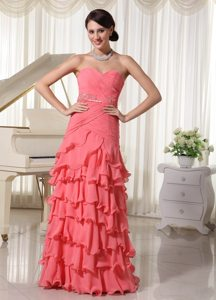 Watermelon Red Flouncing Layered Column Prom Dress with Sweetheart