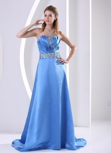 Ruched Strapless Sky Blue Prom Evening Dress With Beading Belt
