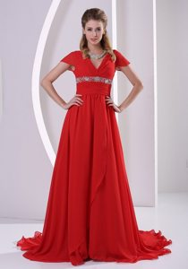 Red Beaded V-neck Short Sleeves Prom Maxi Dress with Court Train