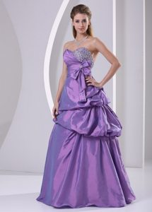 Sweetheart Beaded Pick-ups and Bowknot Purple Prom Dress