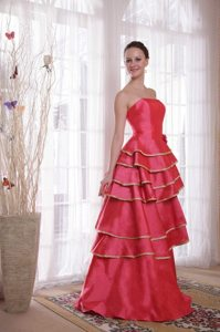Coral Red Princess Strapless Prom Party Dress with Layered Ruffles