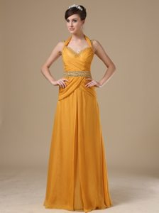 Halter Sweetheart Straps Beaded Gold Prom Evening Dress