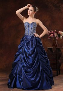 Beaded Pick-ups A-line Sweetheart Navy Blue Prom Maxi Dress
