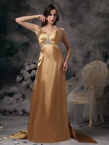 Gold Beading Straps Sweetheart Prom Gowns Brush Train