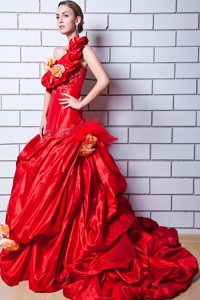 Red One Shoulder Appliques and Hand Made Flowers Prom Dress with Brush Train