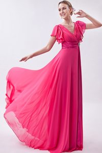 Hot Pink V-neck Butterfly Sleeves Junior Prom Dress with Fitted Sash