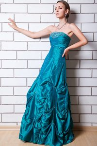 Teal A-line Strapless Beading Pick-up Dress For Prom Queen