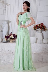 Cap Sleeves V-neck Apple Green Beading Prom Dress with Appliques
