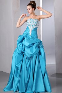 Turquoise Strapless Beading and Appliques Grad Dresses with Pick-ups