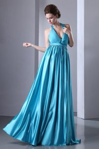 Halter Floor-length Turquoise Empire Pleated Prom Pageant Dress