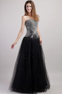 Black Beading Prom Graduation Dress for Strapless Floor-length