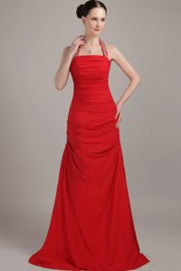 Red Beading Halter Floor-length Ruched Prom Evening Dress
