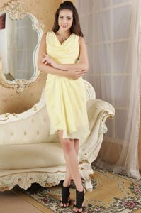 Light Yellow Mini-length Dropped Neckline Prom Homecoming Dress