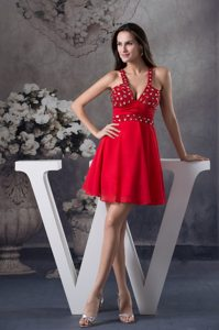 V-neck Beading Mini-length Red Prom Dress with Half-open Back