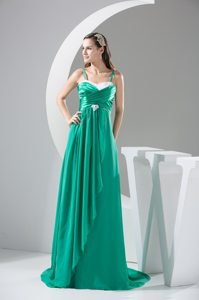 Green Spaghetti Straps Ruching Ruffled Sweep Train Prom Gowns