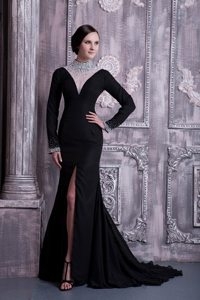 Long Sleeves Black Slitted Prom Dress with Sheer High-Neck