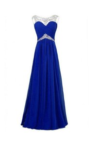 Inexpensive Royal Blue Column/Sheath Beading Prom Dresses Zipper Silk Like Satin Sleeveless Floor Length