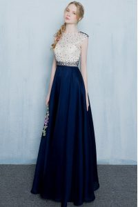 Scoop Cap Sleeves Beading and Ruching Zipper Prom Gown