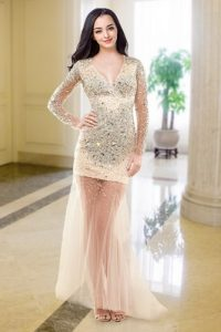 Great Long Sleeves Floor Length Beading Zipper Evening Dress with Peach