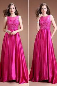 Hot Pink Evening Dress Prom and Party and For with Beading and Appliques Bateau Sleeveless Zipper