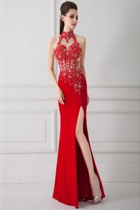 Silk Like Satin Sleeveless Floor Length Prom Dress and Beading and Appliques