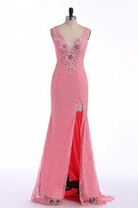 V-neck Sleeveless Evening Dress Sweep Train Lace and Appliques Rose Pink Organza