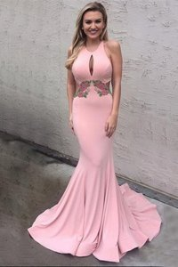 Sumptuous Mermaid Scoop Pink Sleeveless Elastic Woven Satin Brush Train Criss Cross Prom Dresses for Prom and Party