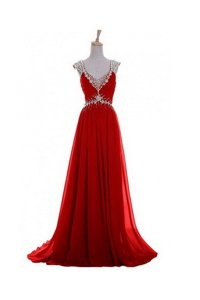Fantastic Zipper Prom Party Dress Red and In for Prom and Party with Beading and Belt Brush Train