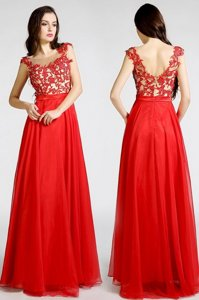 Elegant Red Column/Sheath Chiffon Bateau Sleeveless Beading and Appliques Floor Length Zipper Prom Evening Gown