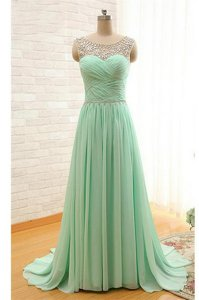 Stunning Scoop Apple Green Sleeveless Chiffon Brush Train Zipper Prom Dress for Prom and Party