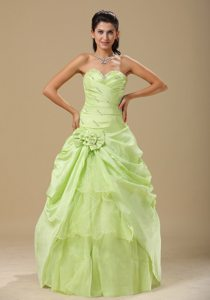Beading and Ruches Accent Organza Quince Gowns in Yellow Green