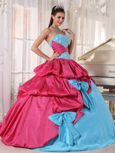 Aqua Blue and Hot Pink Taffeta Quinceanera Gowns with Bowknots