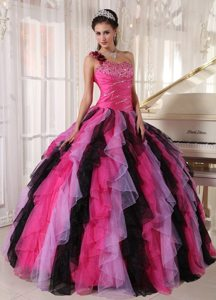Pretty Beading Ruffles One Shoulder Colorful Quinceanera Gowns