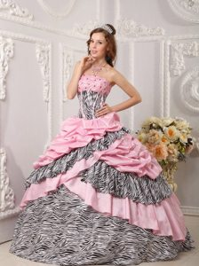 Beaded and Layered Pink Quinceanera Gown Dresses with Zebra Print